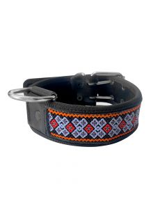 Collar Artesanal Wixari Pets Rombos (Negro y Azul) XL-1