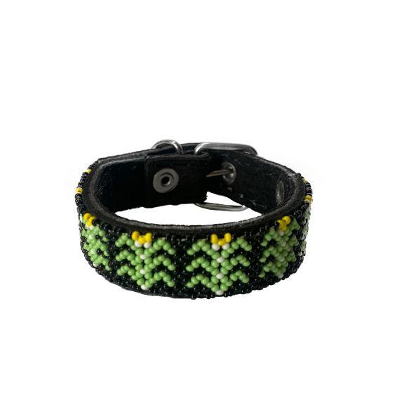 Collar Artesanal Wixari Pets Flor de Hikuri (Verde) XS